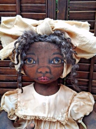 Primitive Folk - Art Black Cloth Doll One Of A Kind 21 Inches photo