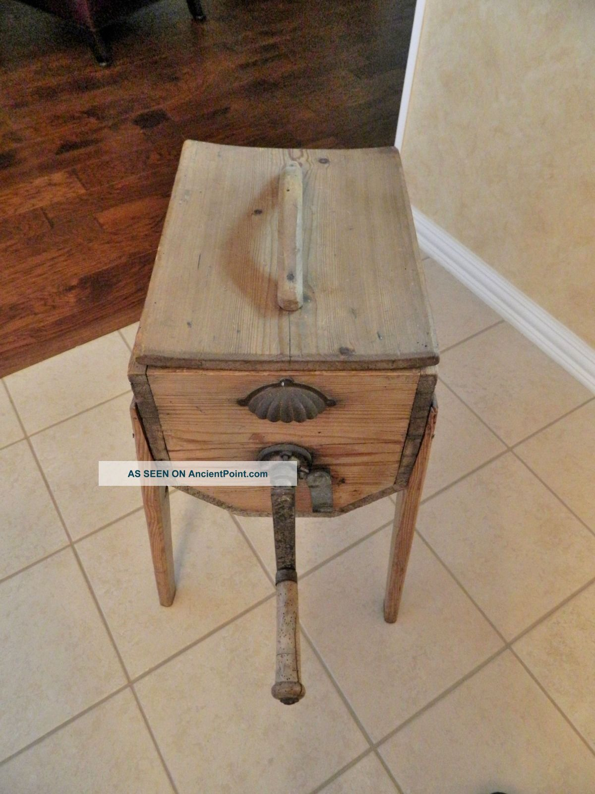 Antique Cylinder Butter Churn And Hand Crank On Stand/primitive Primitives photo