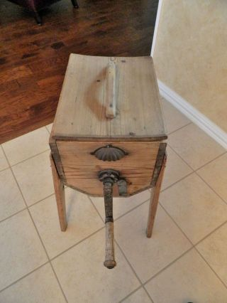 Antique Cylinder Butter Churn And Hand Crank On Stand/primitive photo