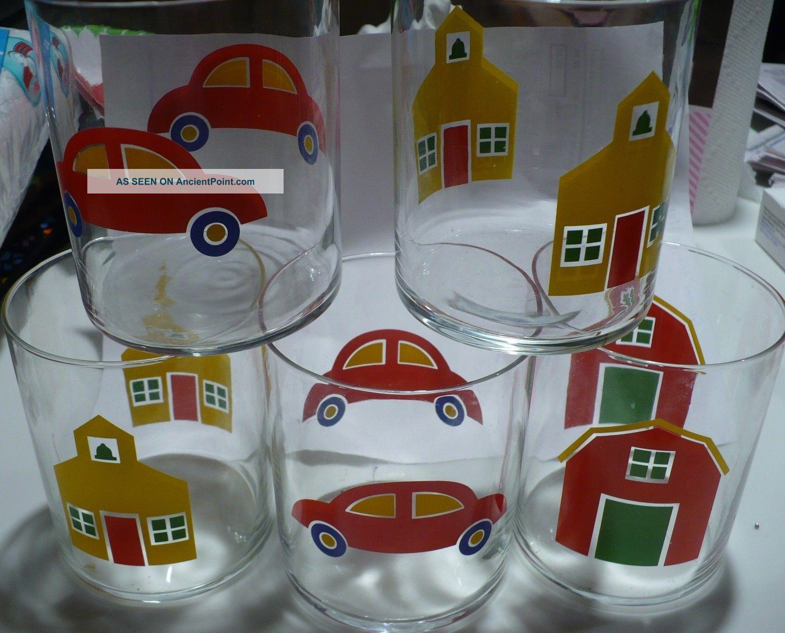 5 Vintage Marimekko 1982 Tumblers Glass School Car Barn Mid-Century Modernism photo