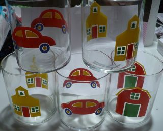 5 Vintage Marimekko 1982 Tumblers Glass School Car Barn photo