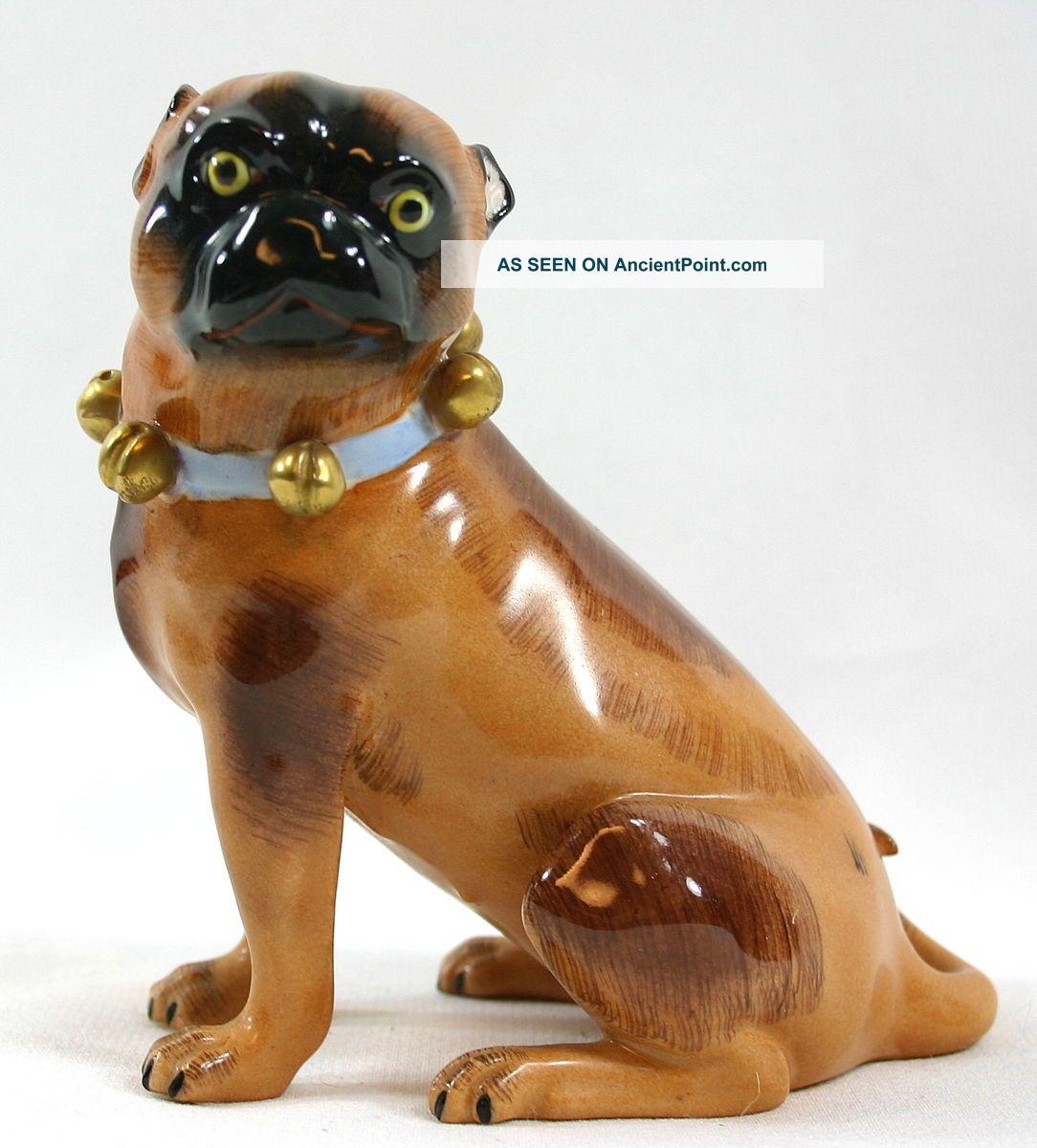 Vintage Dresden Meissen Female Pug Figurine,  Exc.  Cond. Figurines photo