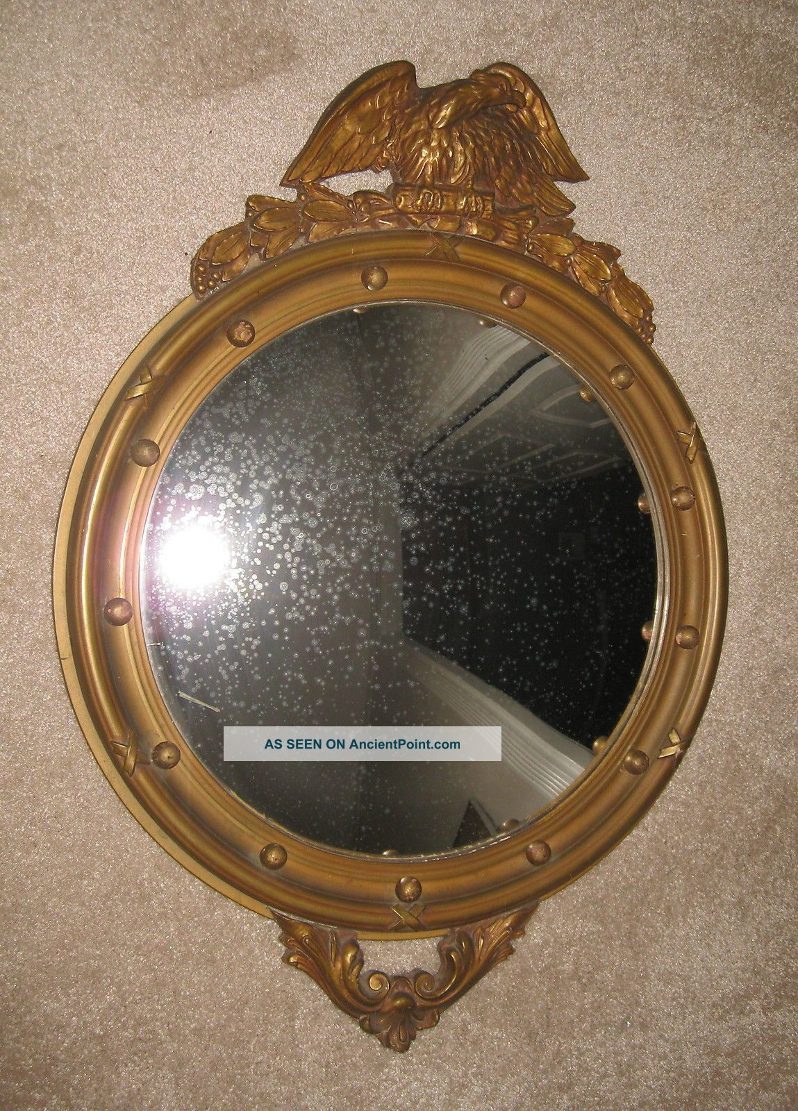 Antique Colonial Federal Convex (bulls Eye) Wood Backed Mirror Mirrors photo
