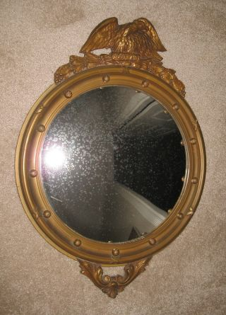 Antique Colonial Federal Convex (bulls Eye) Wood Backed Mirror photo