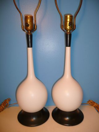 Pair Vintage Lightolier Table Lamps Mid - Century Modern Ceramic Danish Teak Wood photo