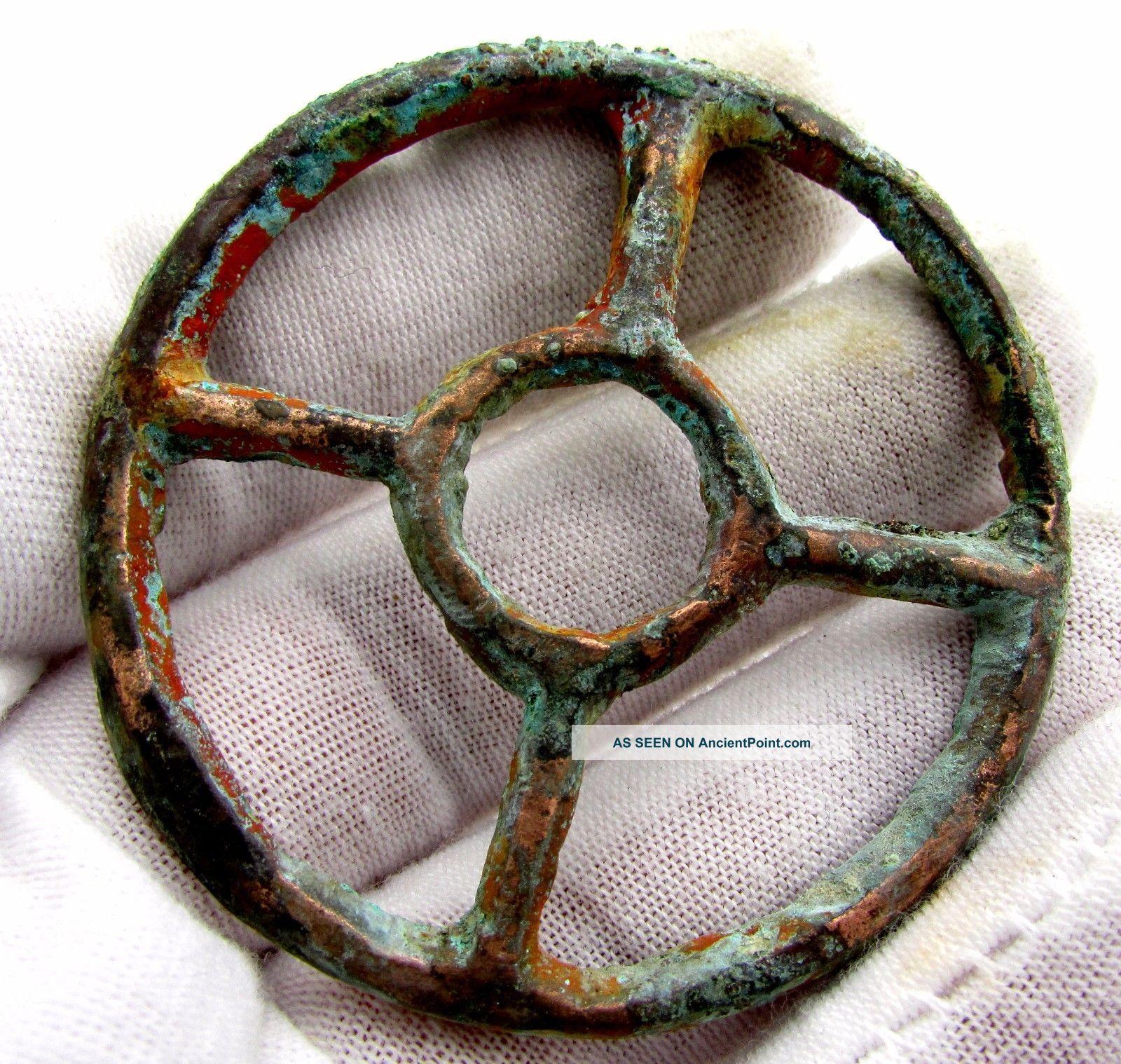 Roman Bronze Wheel Of Fortune Amulet - Ancient Wearable Artifact - G797 Roman photo