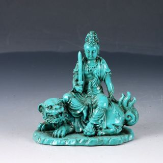 100 Natural Turquoise Hand Carved Bodhisattva Manjusri Statues Dy218 photo