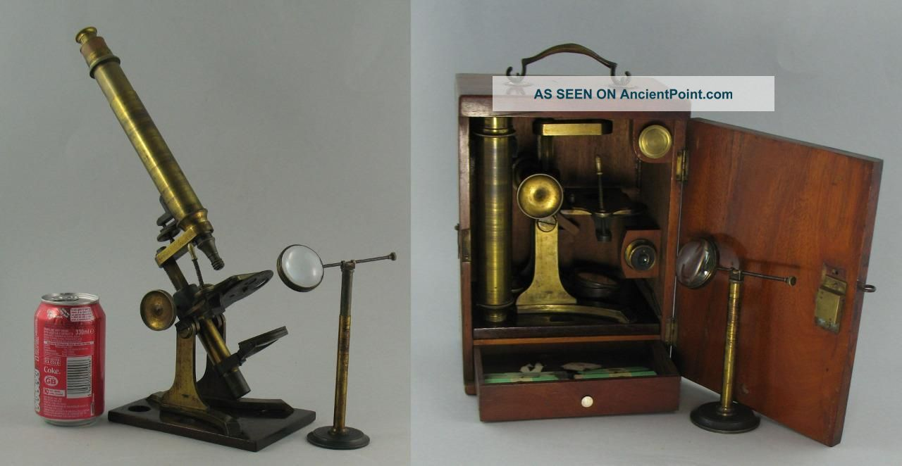 Antique 19c Brass Microscope & Bench Bullseye Condenser Magnifier & Slides Cased Other Antique Science Equip photo