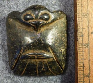 Early 1800 ' S Cherokee Eagle Amulet Black Porphyry Stone Good Patina Medicine Man photo