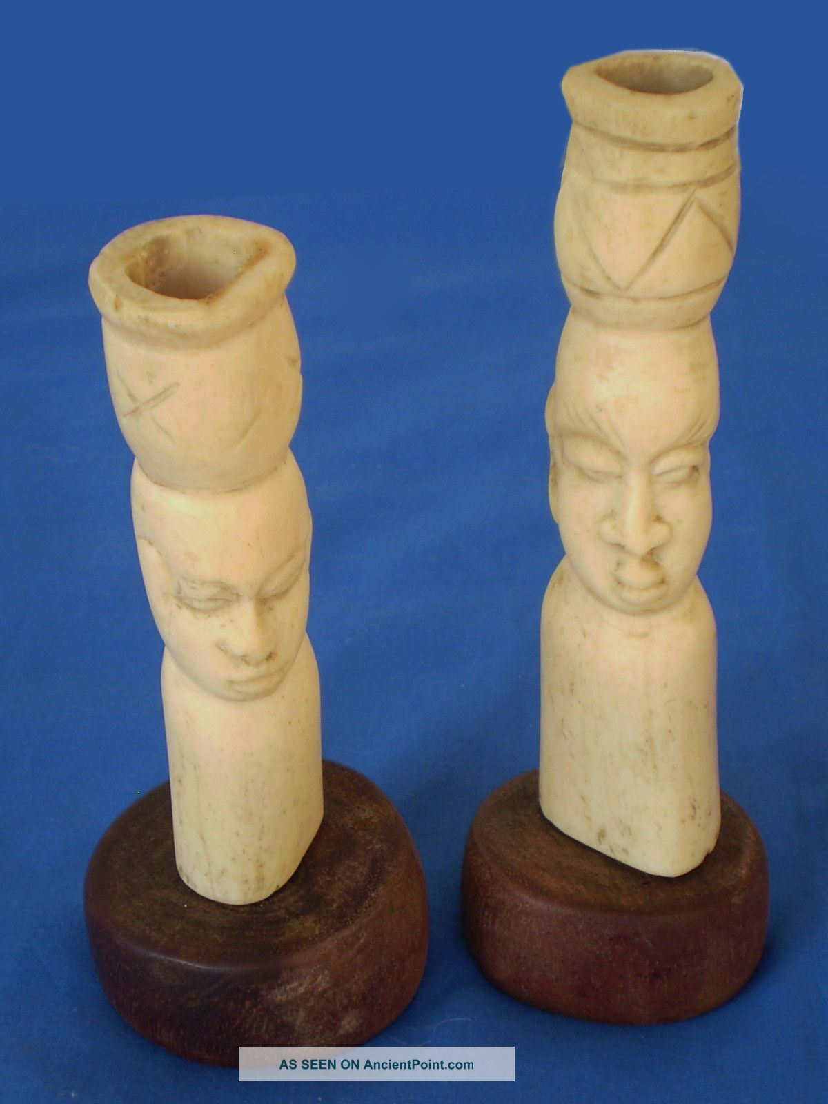 2 Antique African Hand Carved Folk Art Sculptures Heads Statues On Wood Bases Sculptures & Statues photo