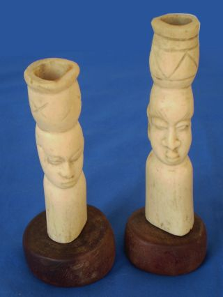 2 Antique African Hand Carved Folk Art Sculptures Heads Statues On Wood Bases photo