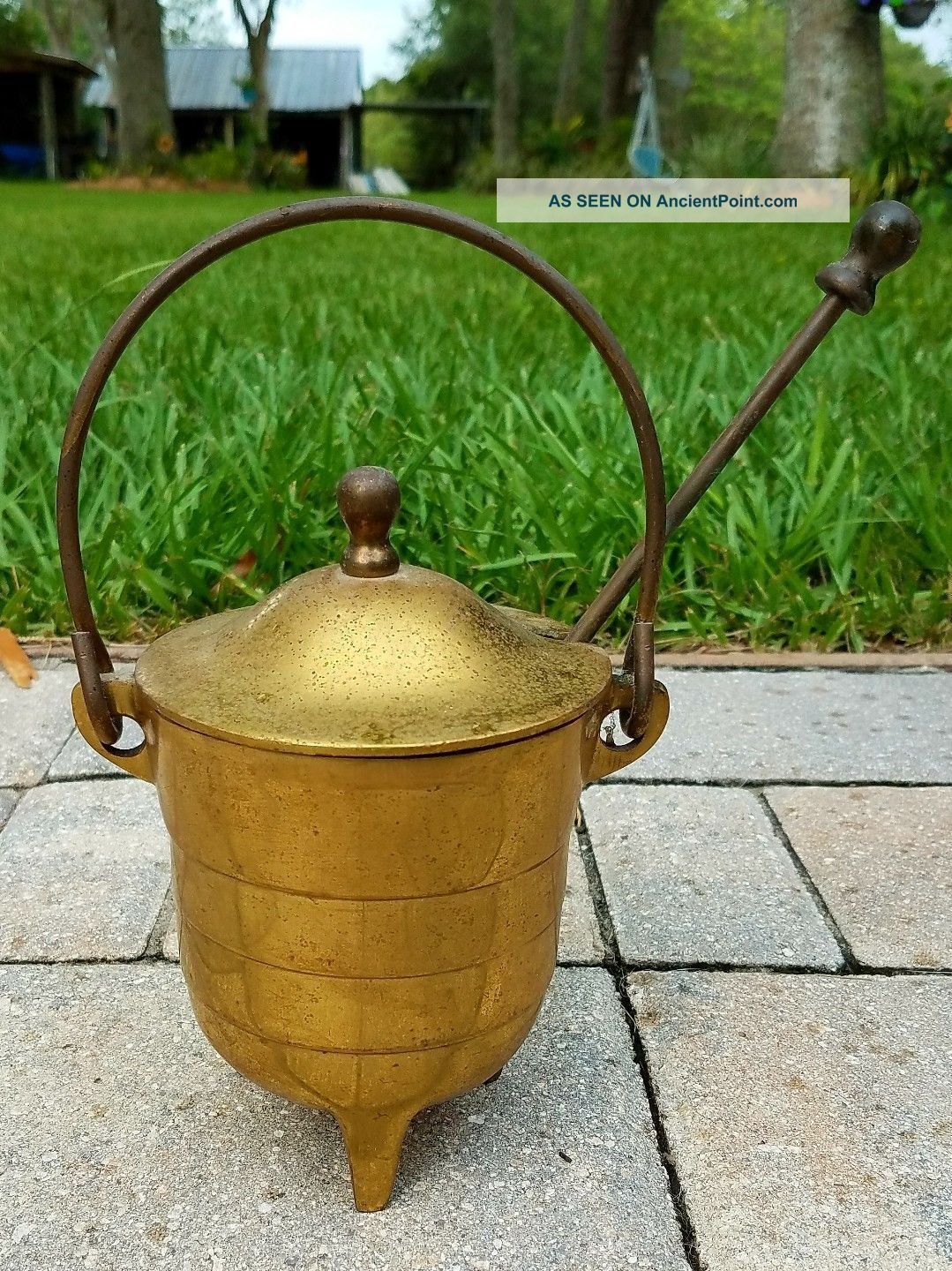 Smudge Pot Smelting Cauldron Kettle Fire Starter Pumice Wand Solid Brass Vintage Hearth Ware photo