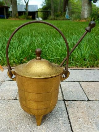 Smudge Pot Smelting Cauldron Kettle Fire Starter Pumice Wand Solid Brass Vintage photo