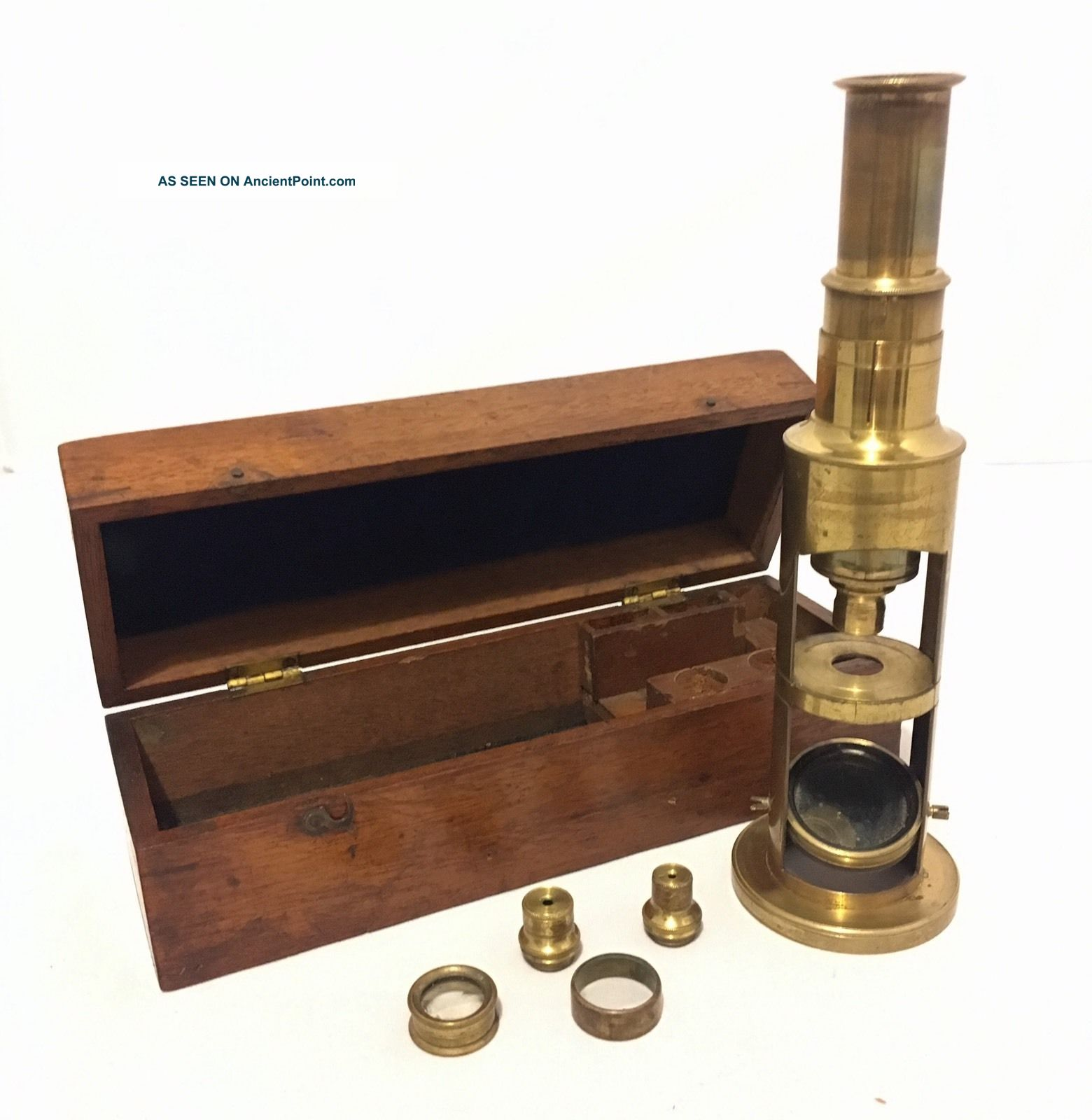 Antique 19th Century Brass Field Student Microscope With Lenses Other Antique Science Equip photo