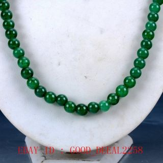 100 Natural Jade Handwork Carved Beaded Necklace Xl073 photo