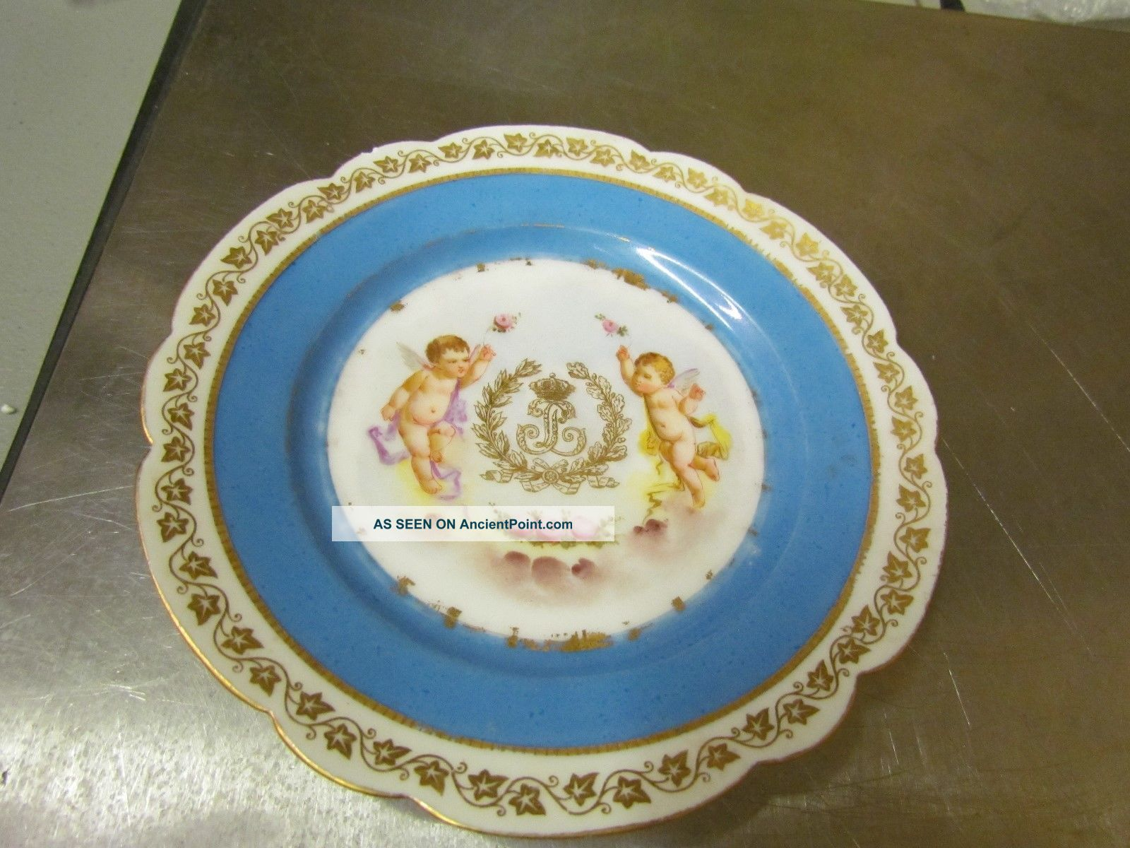 Sevres Chateau Des Tuileries Louis Philippe Inward Facing Cherubs Hand Painted Plates & Chargers photo