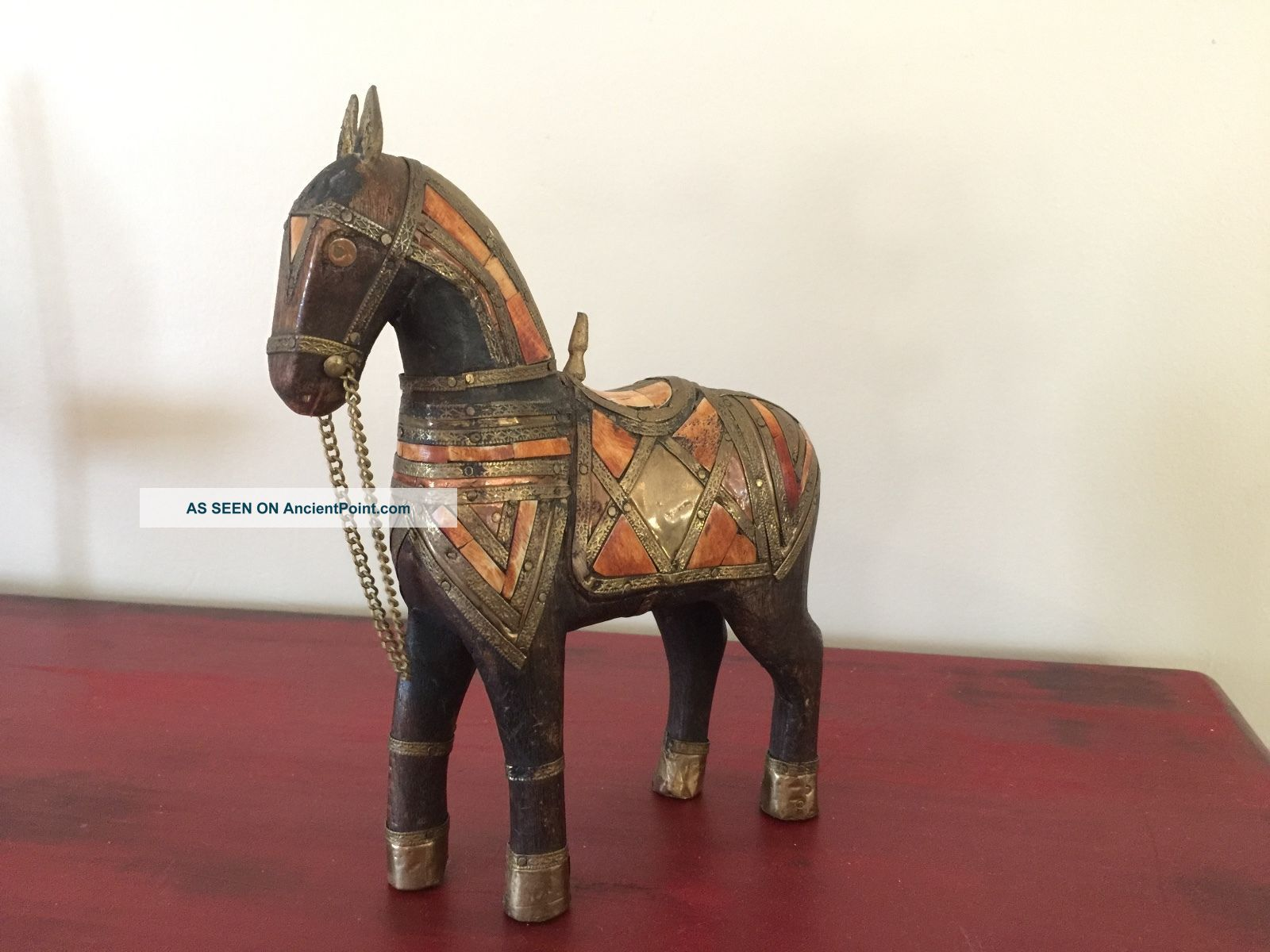 Vintage Carved Wood Horse Inlay Brass Horn Bone Figurine Sculpture Statue Carved Figures photo