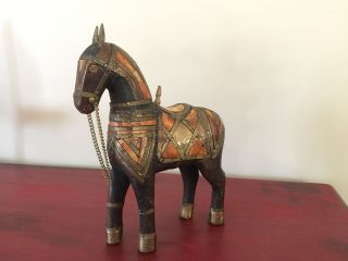 Vintage Carved Wood Horse Inlay Brass Horn Bone Figurine Sculpture Statue photo
