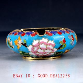 Chinese Cloisonne Handwork Carved Flower Ashtray Jtl074 photo