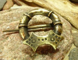 Antique Hand Crafted Bronze Viking Fibula Broosh 21,  00 Gr. photo
