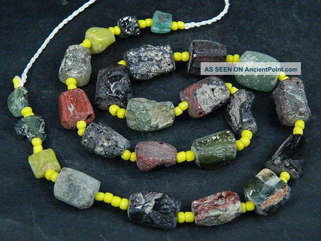Ancient Fragment Glass Beads Strand Roman 200 Bc Be1348 Near Eastern photo