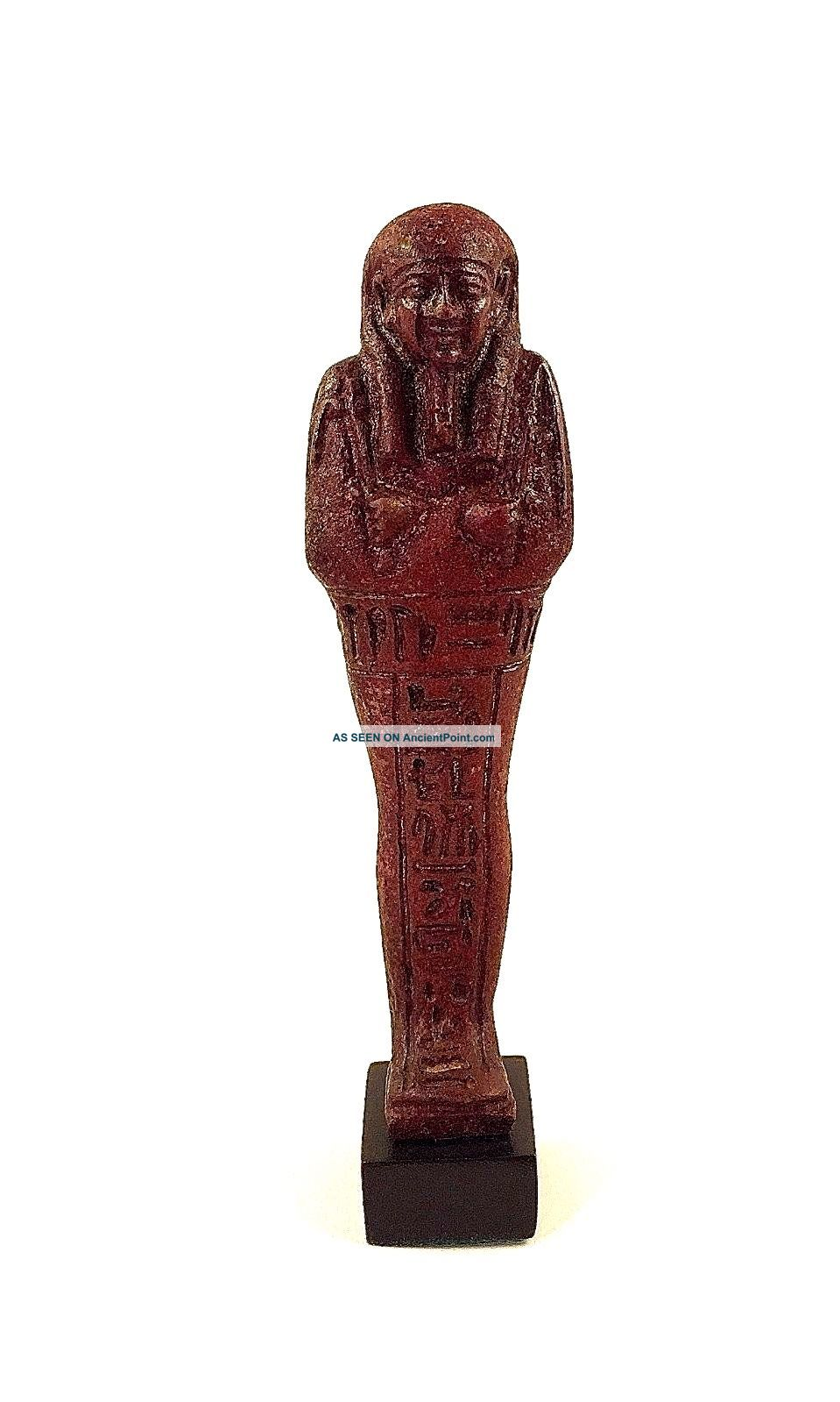 Truly Exceptional Red Faience Ushabti For Nahkt Heneb Egyptian photo