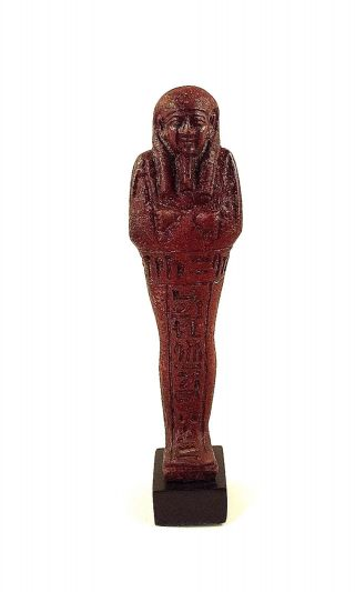 Truly Exceptional Red Faience Ushabti For Nahkt Heneb photo
