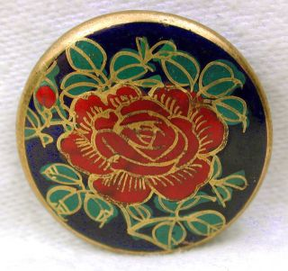 Vintage Satsuma Button Hand Painted Red Rose Blossom W/ Gold Accents 7/8
