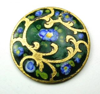Antique Enamel Button Hand Painted Blue Flowers On Green & Brass Design 3/4