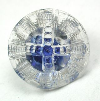 Antique Radiant Glass Button Cross Mold W/ Blue Color - 11/16