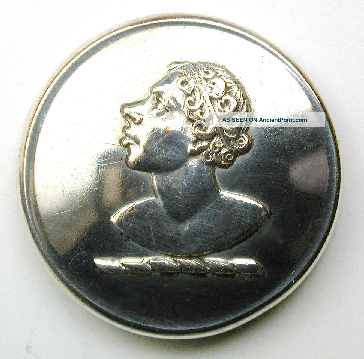 Antique Silver On Copper Livery Button - Man In Profile - Bullivant - 15/16