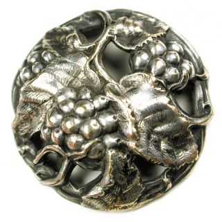 Antique Pierced Silver On Brass Button Berries & Leaves Design 1 & 1/8