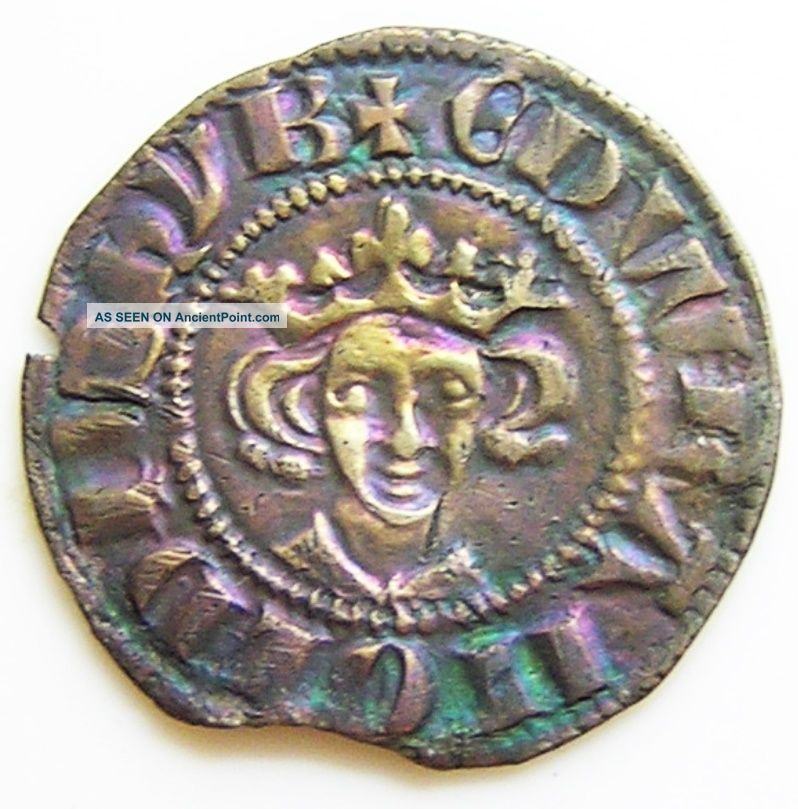 Exceptional Medieval Silver Penny Of King Edward I C.  1294 - 1299 A.  D.  Toned Ef British photo