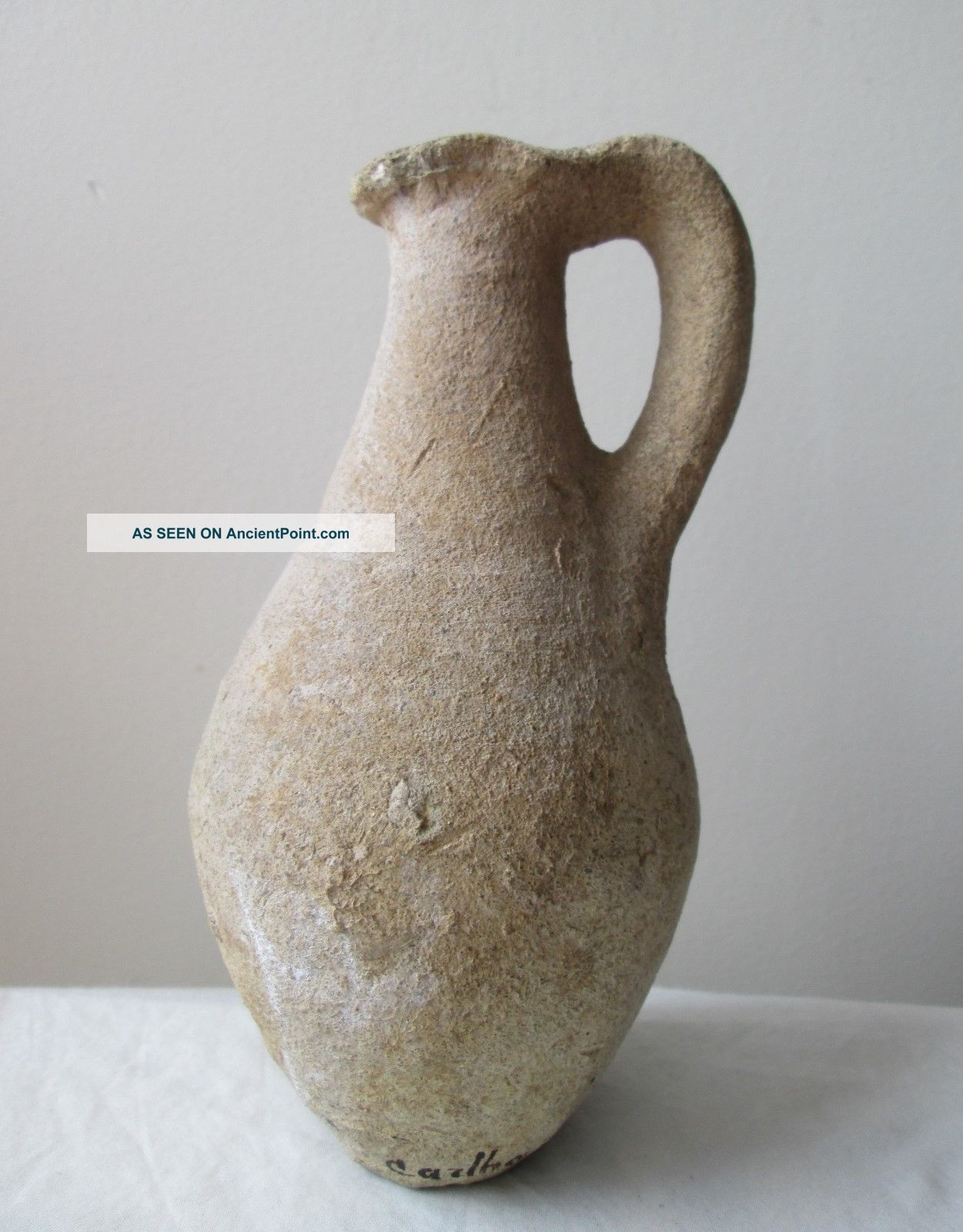 Ancient Carthage Tunisia Holy Land Pottery Jug Vessel W Handle 3rd Century B.  C Holy Land photo