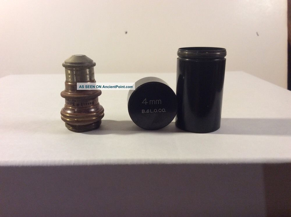 Antique 1880 ' S? Bausch And Lomb Microscope Lens 4 Mm With Keeping Vile Optical photo