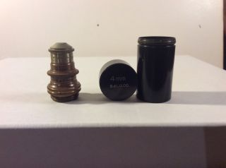 Antique 1880 ' S? Bausch And Lomb Microscope Lens 4 Mm With Keeping Vile photo
