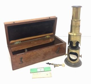 Antique 19th Century Brass Field / Student Microscope With Lenses photo