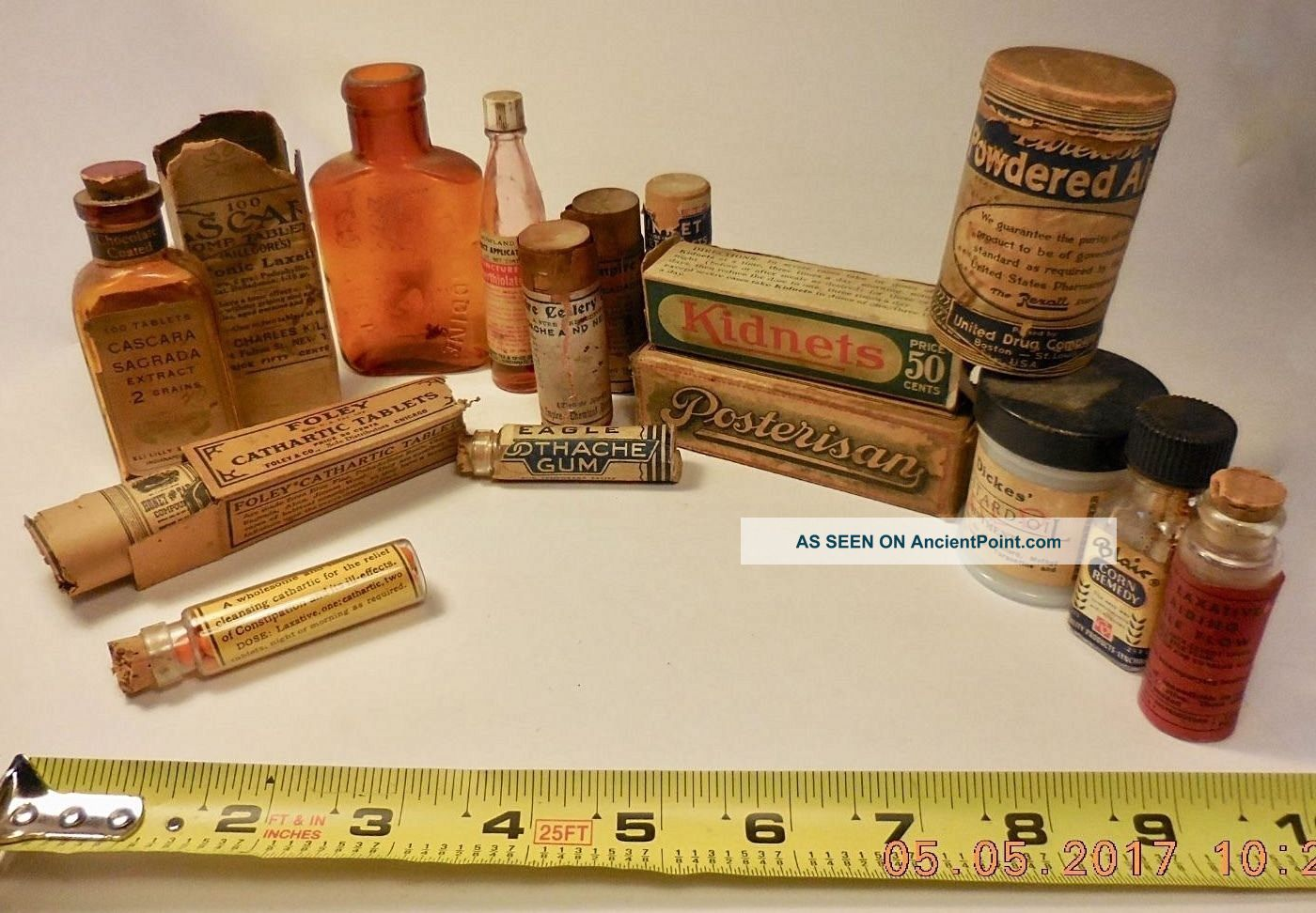 14 Vintage Adv.  Medical Bottles,  Boxes,  Wooden & Cardboard Containers - Laxatives, Quack Medicine photo