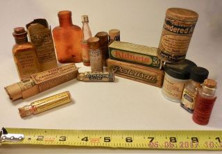 14 Vintage Adv.  Medical Bottles,  Boxes,  Wooden & Cardboard Containers - Laxatives, photo