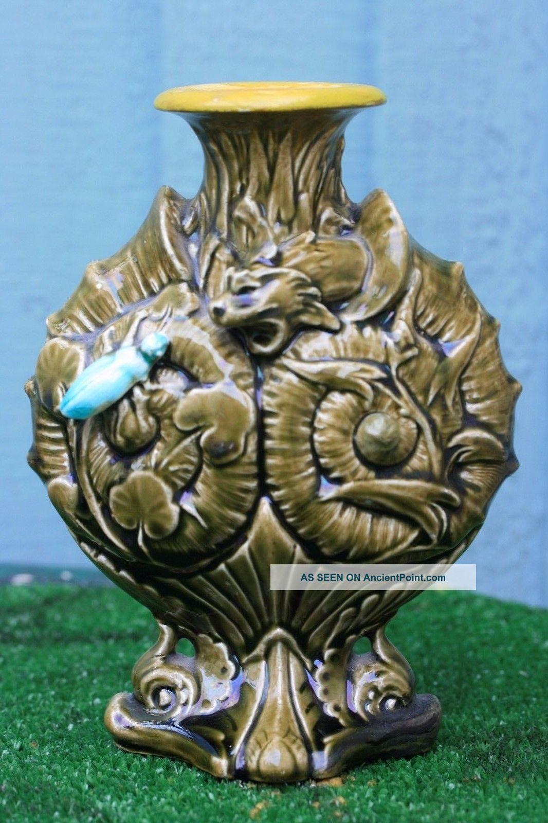 19thc Gothic Majolica Palissy Vase With Gargoyles & Beetle Decor C1880s Figurines photo