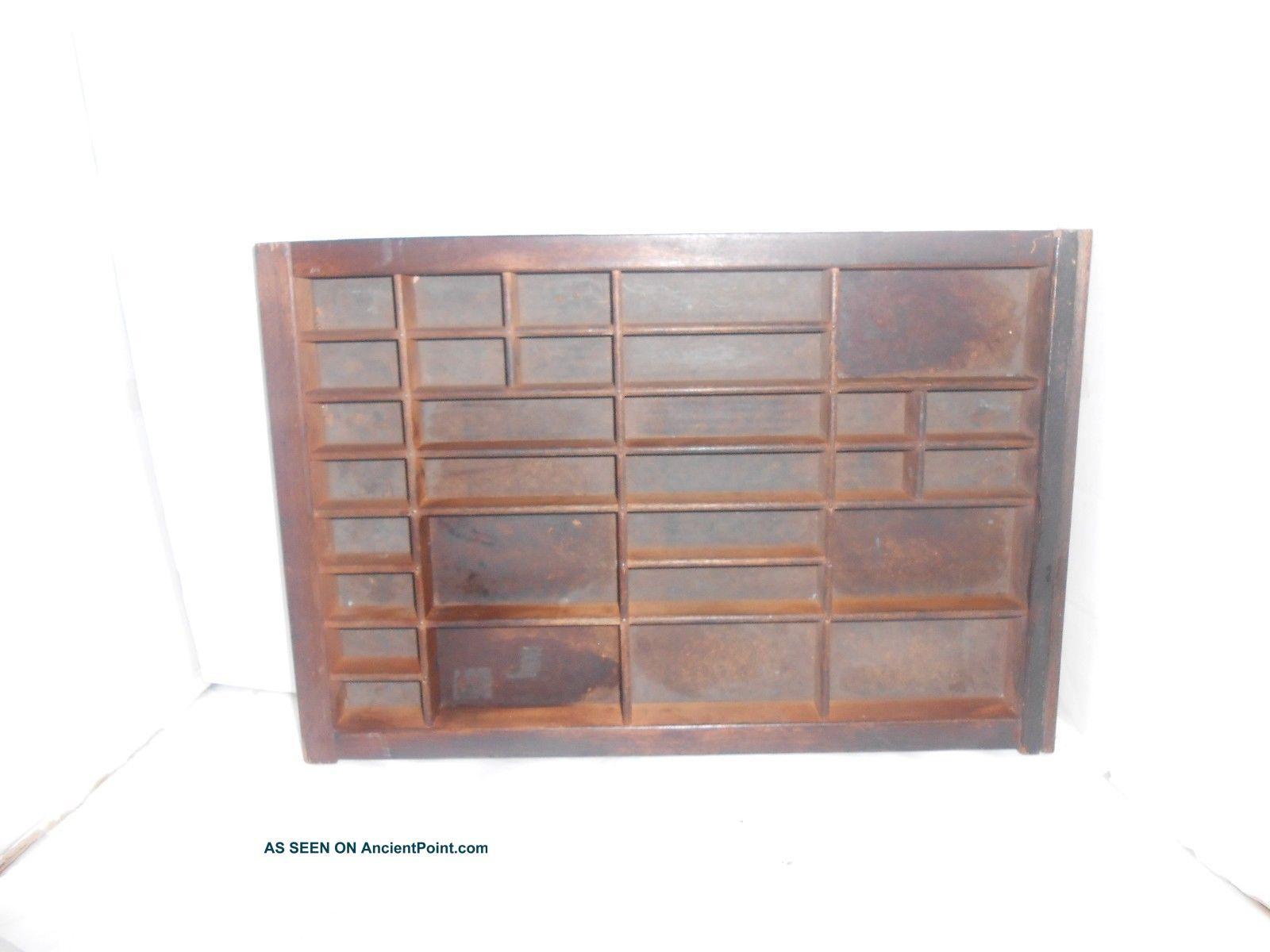 Vintage 30 Compartment Wood Printer ' S Typeset Drawer 14 1/4 X 16 1/2