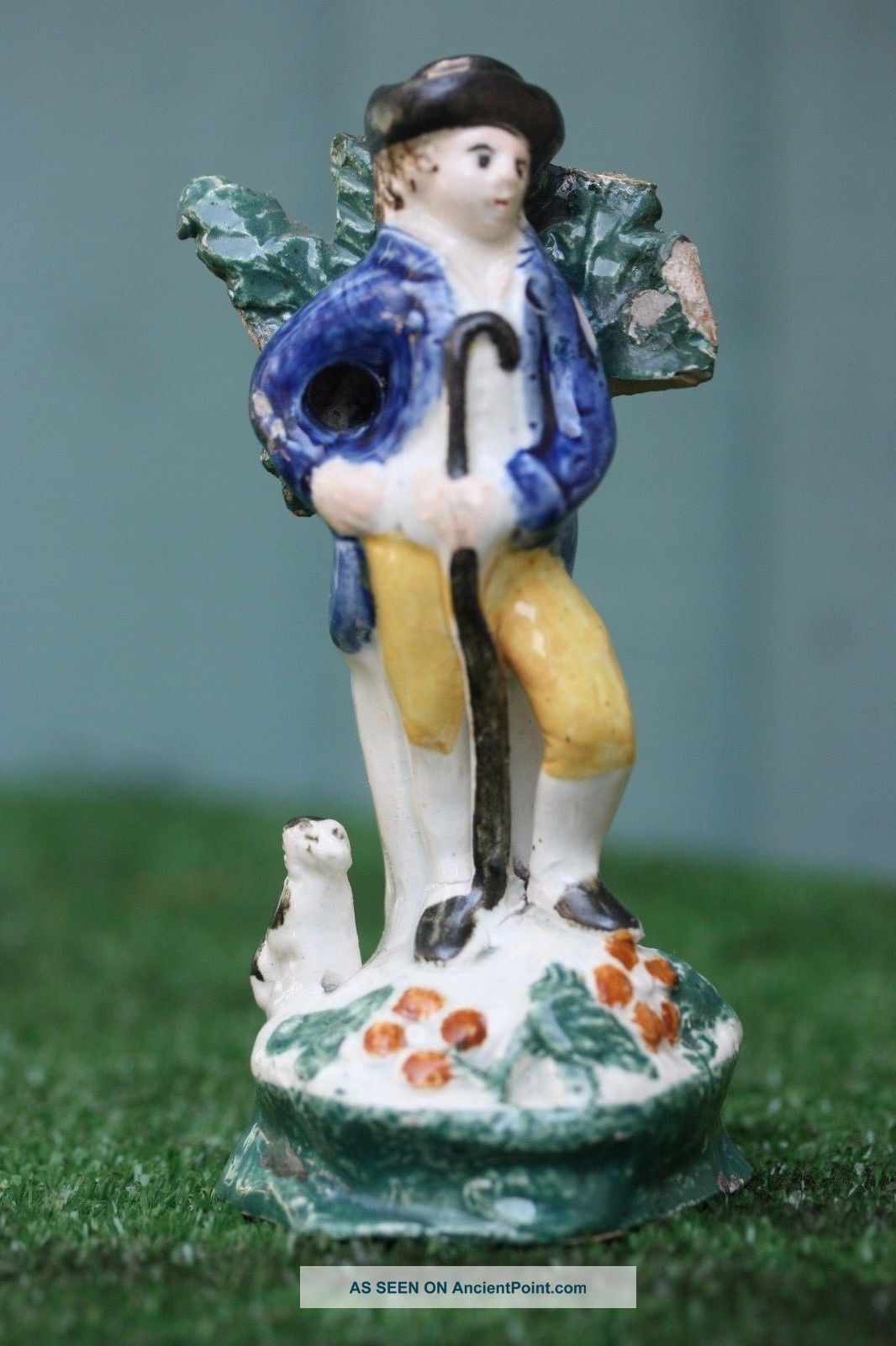 18thc Staffordshire Pearlware Male Figure With Crook & Seated Dog C1800s Figurines photo