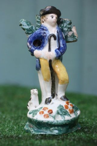 18thc Staffordshire Pearlware Male Figure With Crook & Seated Dog C1800s photo