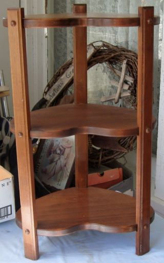 Vintage Wooden Plant Table 3 Shelves Knick Knack Corner Table Stand Heart Shaped photo