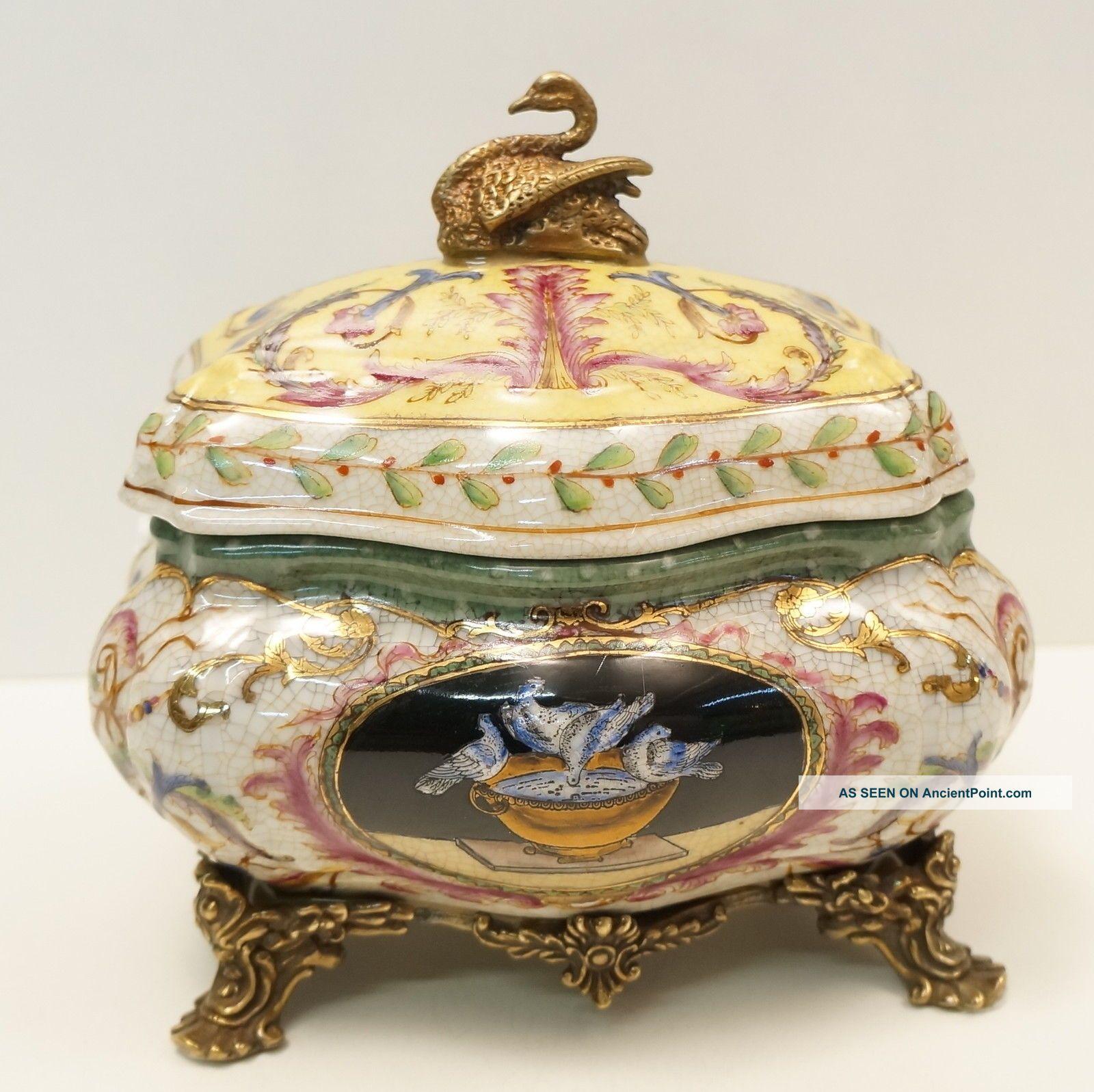 Box Jewelry Tobacco Swan Bird Art Deco Style Art Nouveau Style Porcelain Bronze Boxes photo