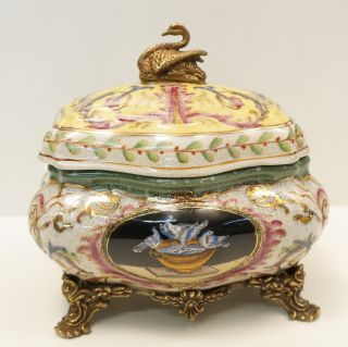Box Jewelry Tobacco Swan Bird Art Deco Style Art Nouveau Style Porcelain Bronze photo