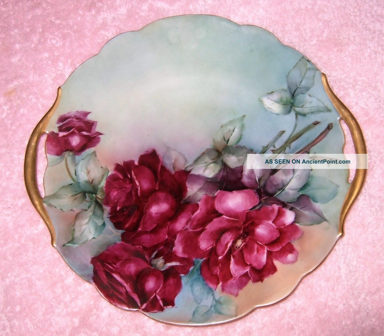 Antique Hand Painted Plate Hand Painted Roses Cake Plate 2 Handles 10 3/4