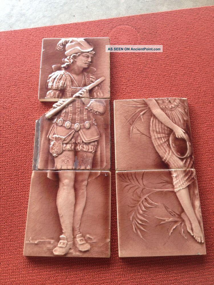 Antique Trent Encaustic Victorian Tile 1890s Figures Tiles photo