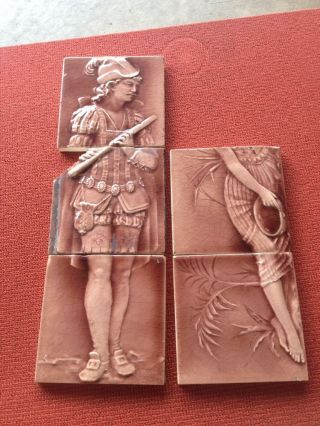 Antique Trent Encaustic Victorian Tile 1890s Figures photo
