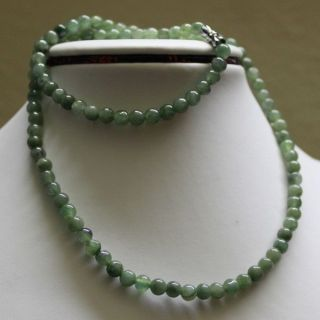 100 Natural (grade A) Untreated Green Jadeite Jade Beads Necklace 5.  5mm,  20